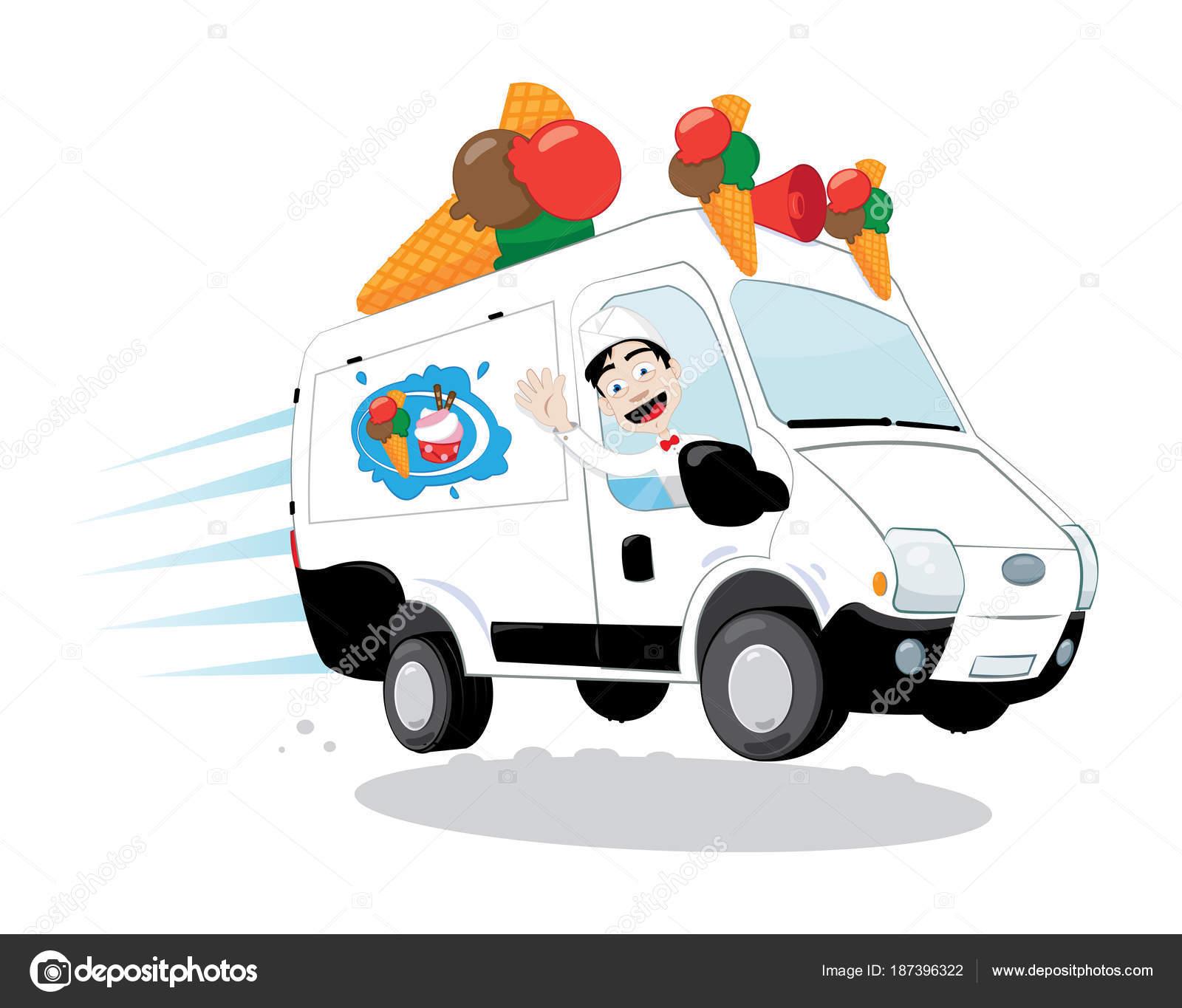 Vector Cartoon Representing Funny Decorated Ice Cream Van Cones Logo