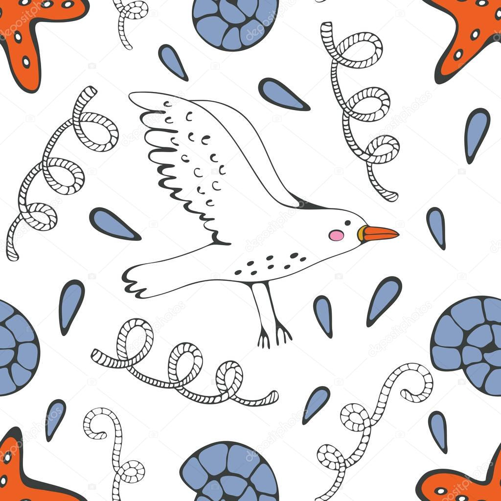 Colorful seamless sea pattern with seagulls shells and starfishes