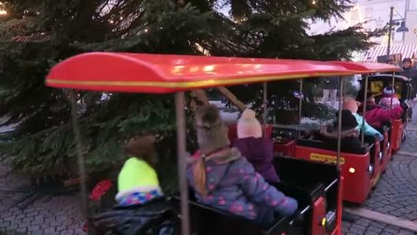 Locomotive merry-go-round on Christmas fair on Spandau district of Berlin.