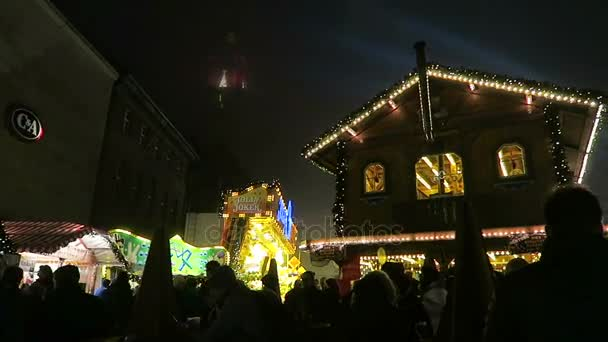 Wooden house at Christmas fair on Spandau district of Berlin.