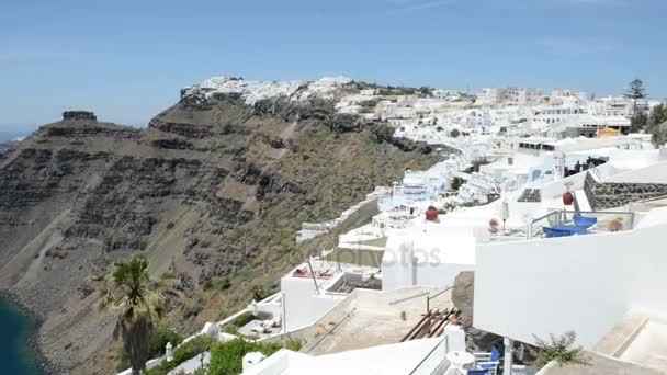 Panoramic view over town Fira at Santorini with its Volcano Caldera. Greece