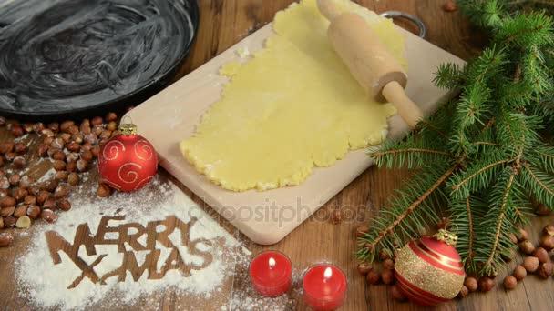 Karácsonyi Sütés boldog X-mas, cookie tészta folyamat.