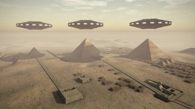 Giza platform in Egypt with some UFOs