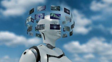 woman with futuristic virtual monitors