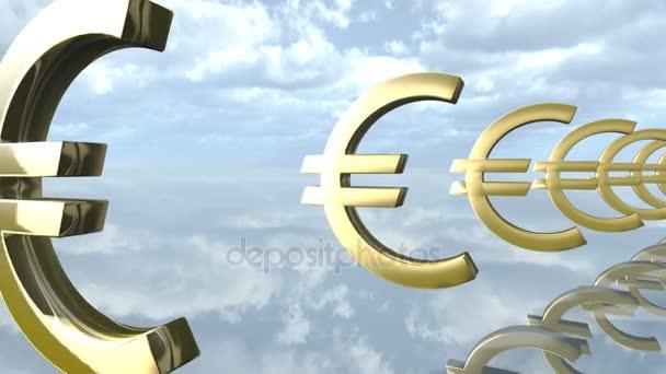 znamení zlaté euro v řádku