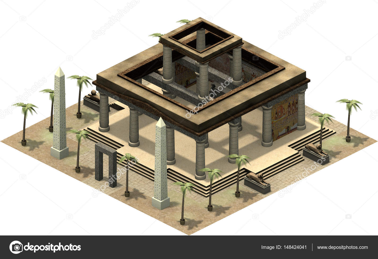 Isometric platform of ancient egypt stock photo fredmantel 3d rendering of isometric platform of ancient egypt illustration of old architecture temple with pillars and palm trees in dessert ccuart Choice Image