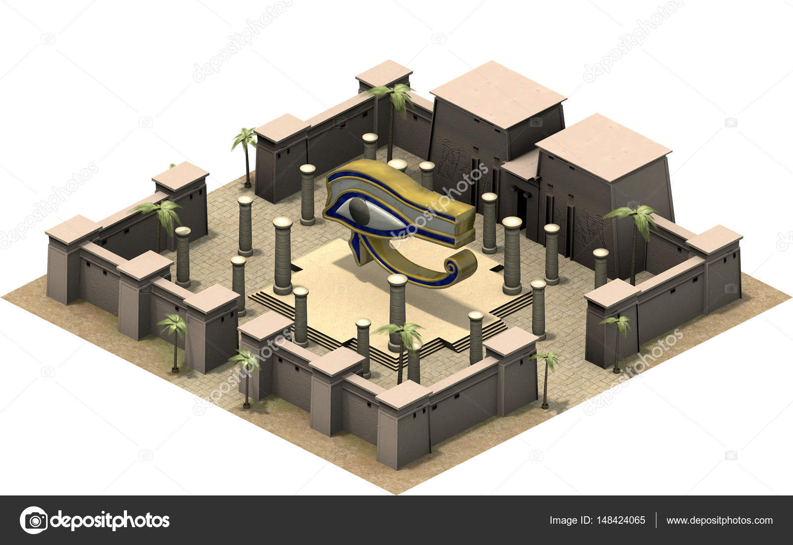 Isometric platform of ancient egypt stock photo fredmantel 3d rendering of isometric platform of ancient egypt illustration of old architecture symbol of eye of god horus and palm trees in dessert ccuart Choice Image