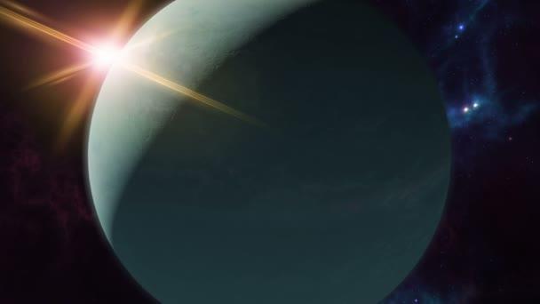 Gold Uranus Horoscope Symbol On Foreground Of Planet Stock Video