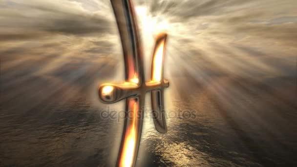 golden Pisces astrology symbol
