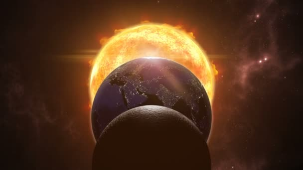 animation of sun eclipsed by moon and earth