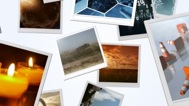rendered animation of falling photo frames