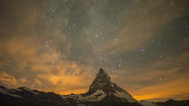 nighttime sunrise time lapse of the mountain