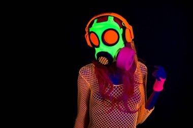 ultra violet neon gasmask woman