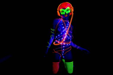 glow uv neon sexy disco female cyber doll