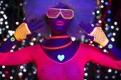 Fényképek uv neon szexi disco női cyber robot elektronikus játék ragyogás