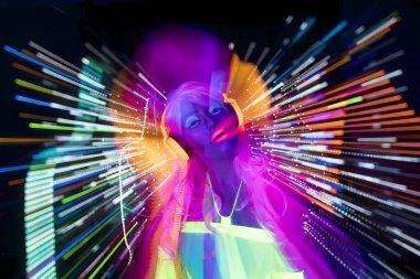 glow uv neon sexy disco female cyber doll