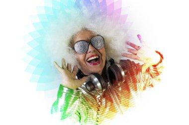 Grandma partying disco