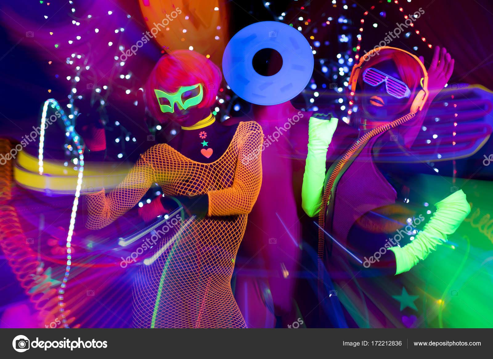 Glow uv Neon Disco-party — Stockfoto © dubassy #172212836