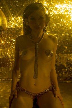 luxury golden disco woman