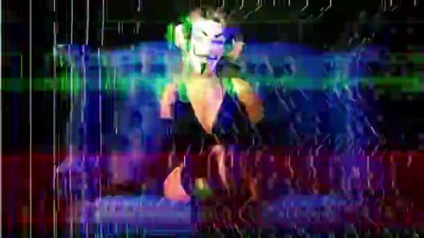 nő névtelen v bosszú maszk szándékos törött TV és videó statikus