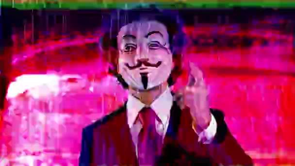férfi névtelen v bosszú maszk szándékos törött TV és videó statikus