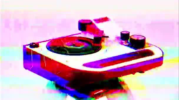 gramofon rotující s různými televizními zkresleními přidány a závada efekty