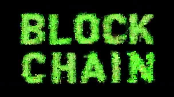 kryptoměna slova blok řetěz na obrazovce počítače s přidanými efekty závad
