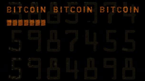opakování bitcoinové zprávy na obrazovce počítače s přidanými efekty poruchy a zkreslení