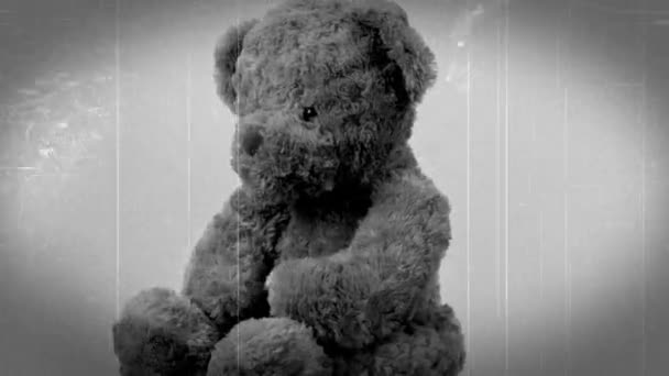retro vintage video effects with brown teddy bear toy on white background