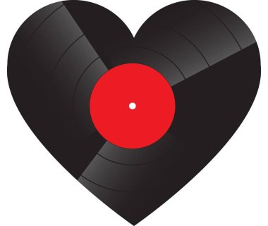 Heart Shaped record on white