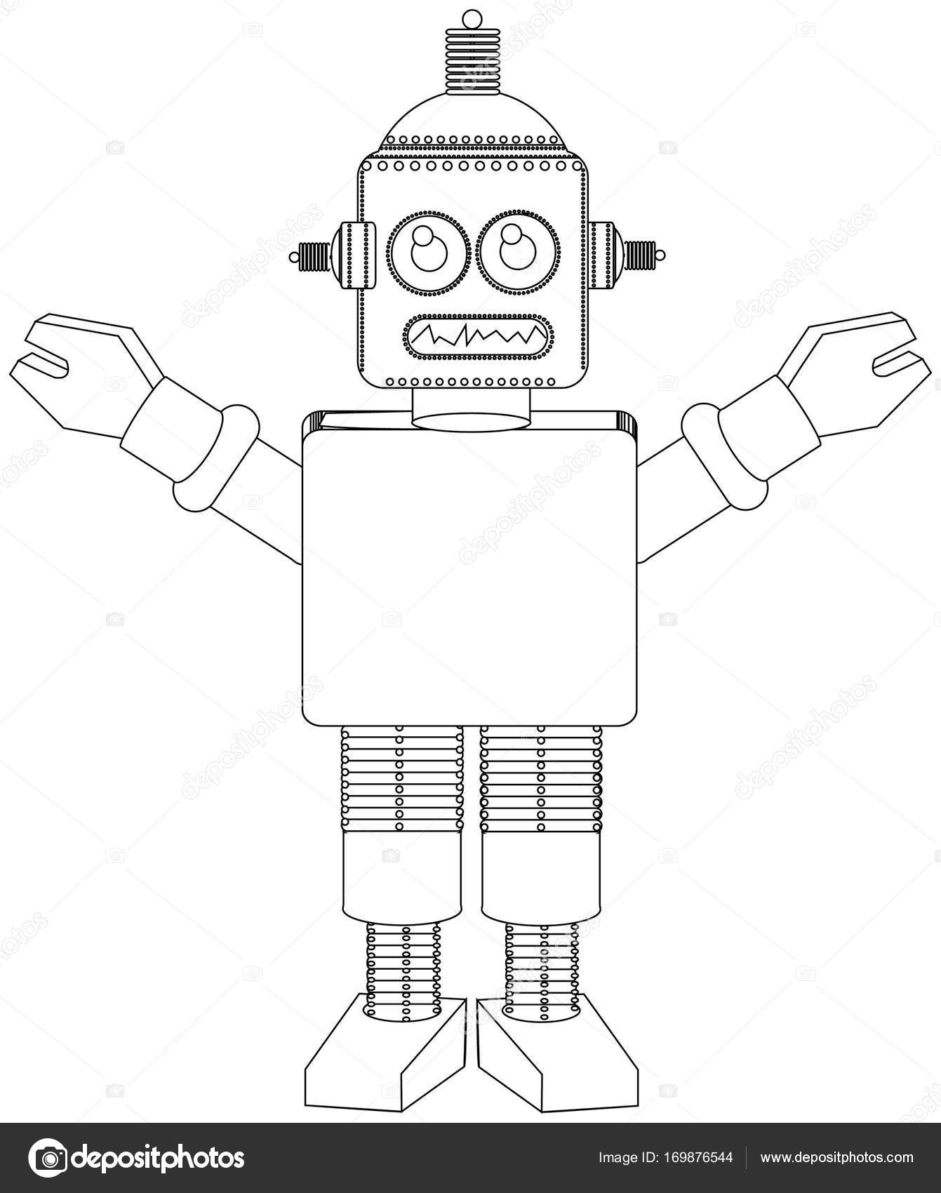Robot coloring book line drawing — Stock Photo © jamesstar #169876544