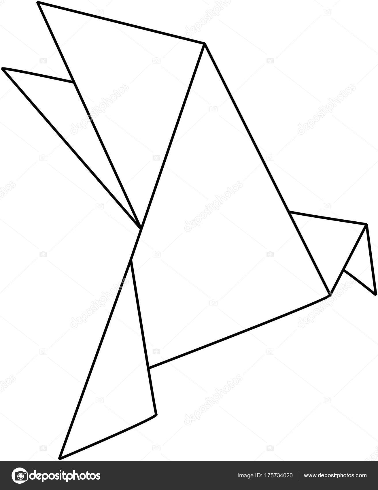 Origami Bird Line Drawing Stock Photo