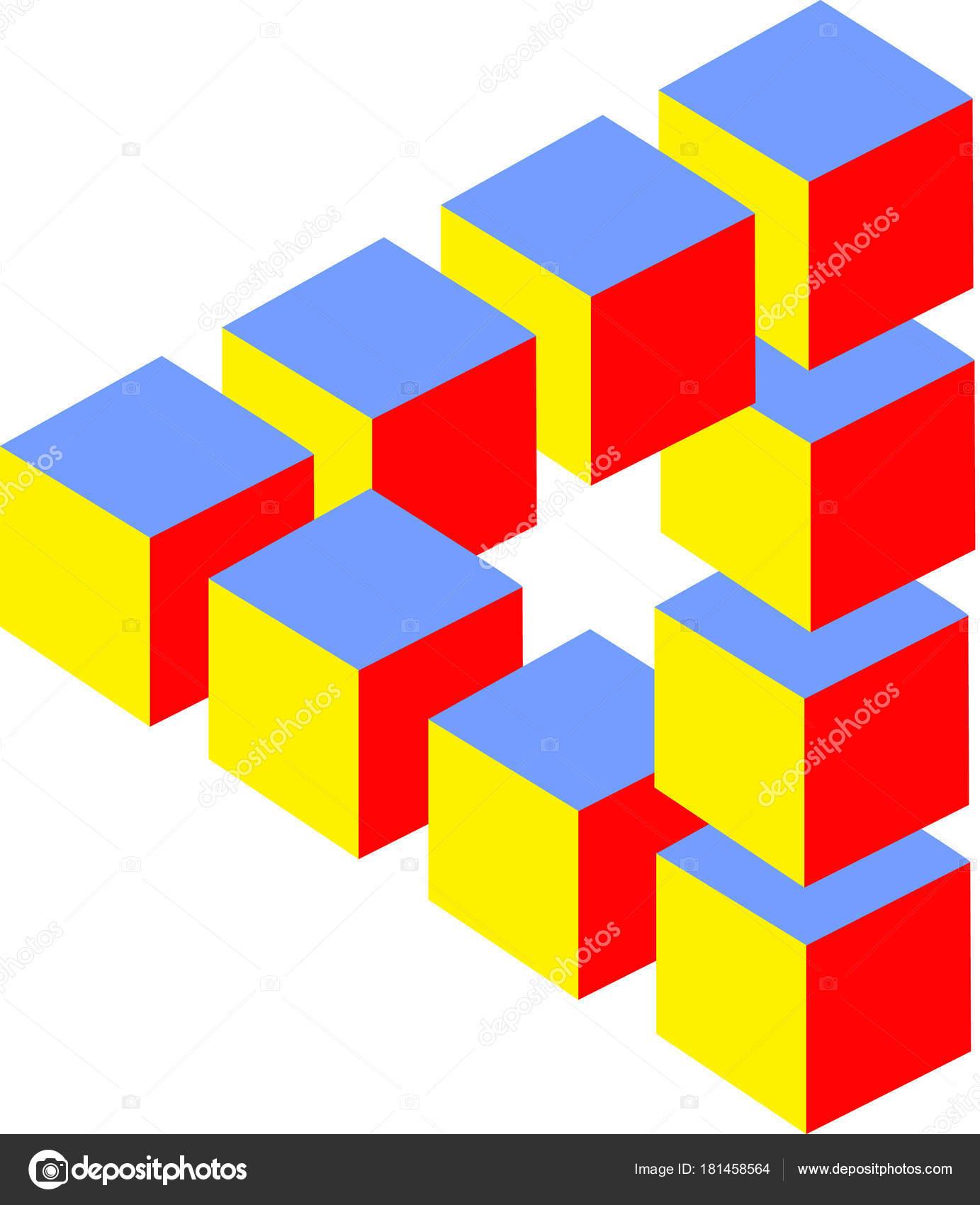 Illusion Optique Couleur illusion d'optique cubes de couleur — photographie jamesstar