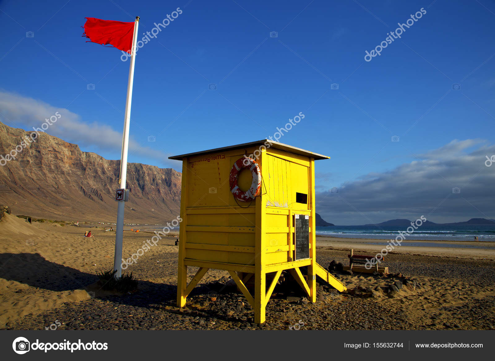 Red Flag Water Lifeguard Chair Cabin Beach Musk Coastline