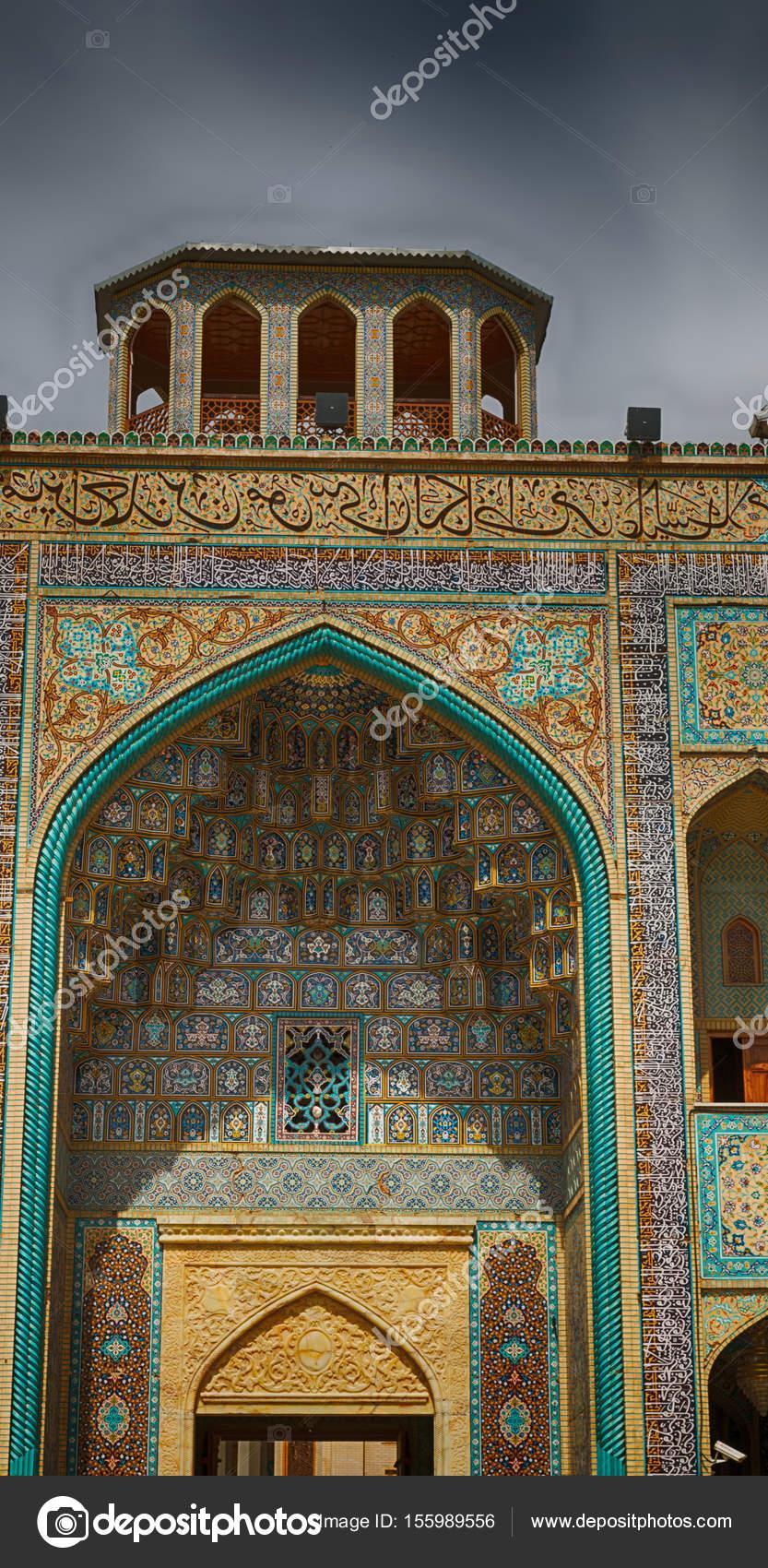 Fliesen Sie Im Iran Die Alte Moschee Und Traditionellen Wand Schnitt Nahe  Minarett U2014 Foto Von Lkpro