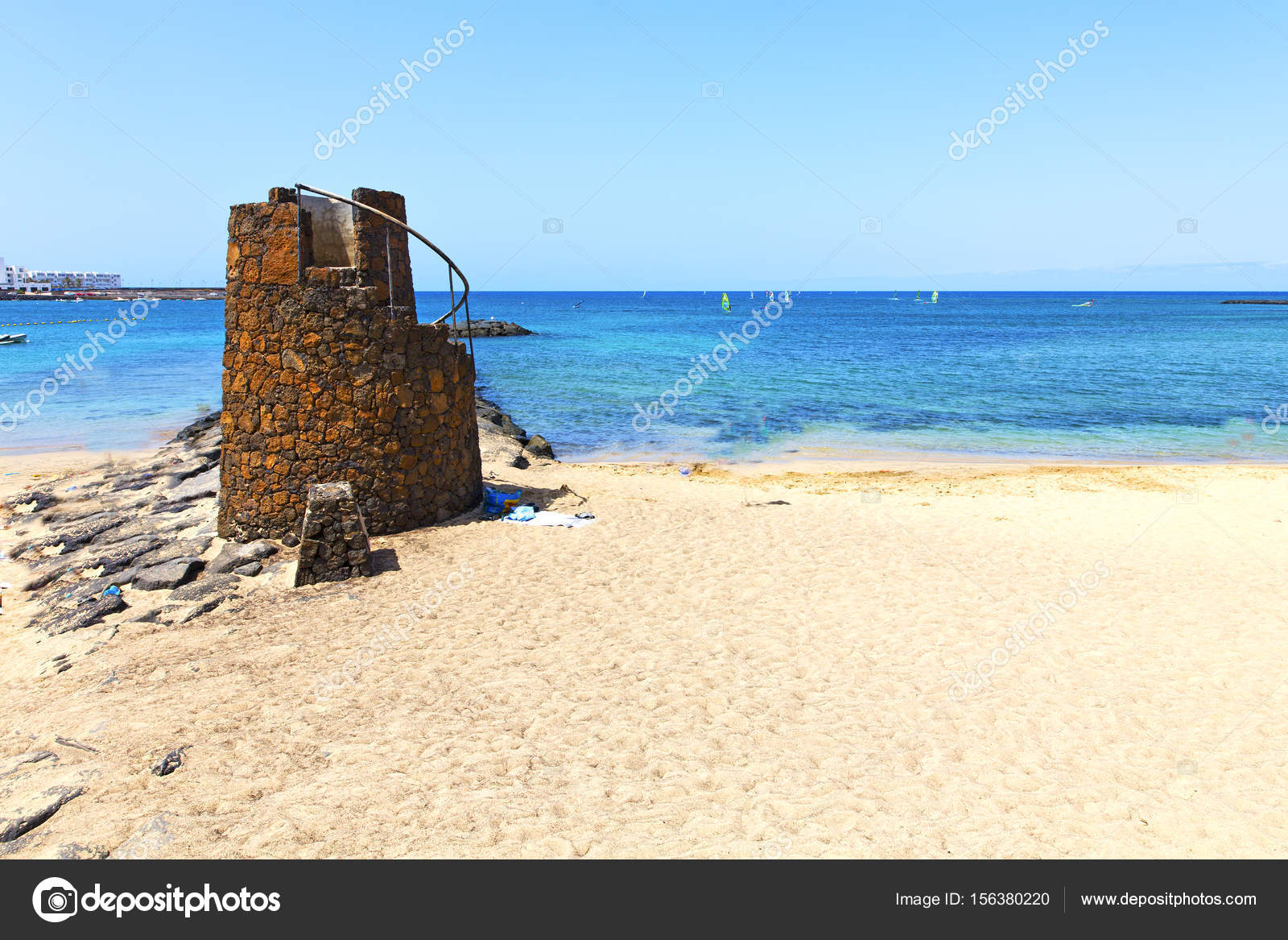 Weiße Küste Lanzarote Spanien Strand Steine Wasser Und Sommer