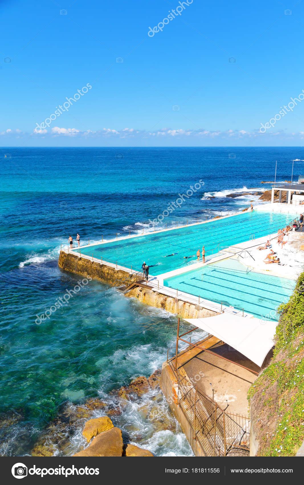 Australia Bondie Beach Resort Pool Ocean Stock Photo