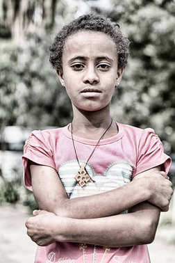 ETHIOPIA,LALIBELA-CIRCA  JANUARY 2018--unidentified  young girl in  the genna celebratio