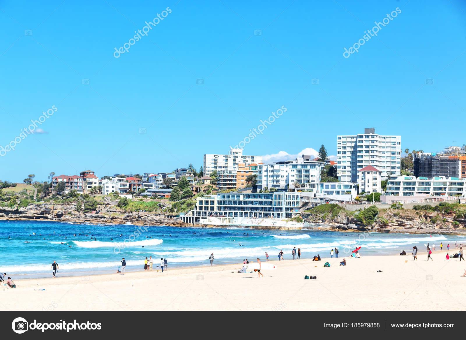 Australia People Bondie Beach Resort Ocean Stock Photo