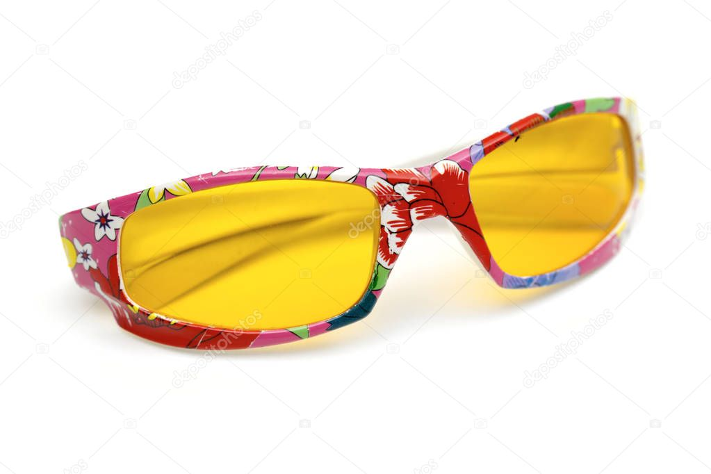 Children's glasses on the white background