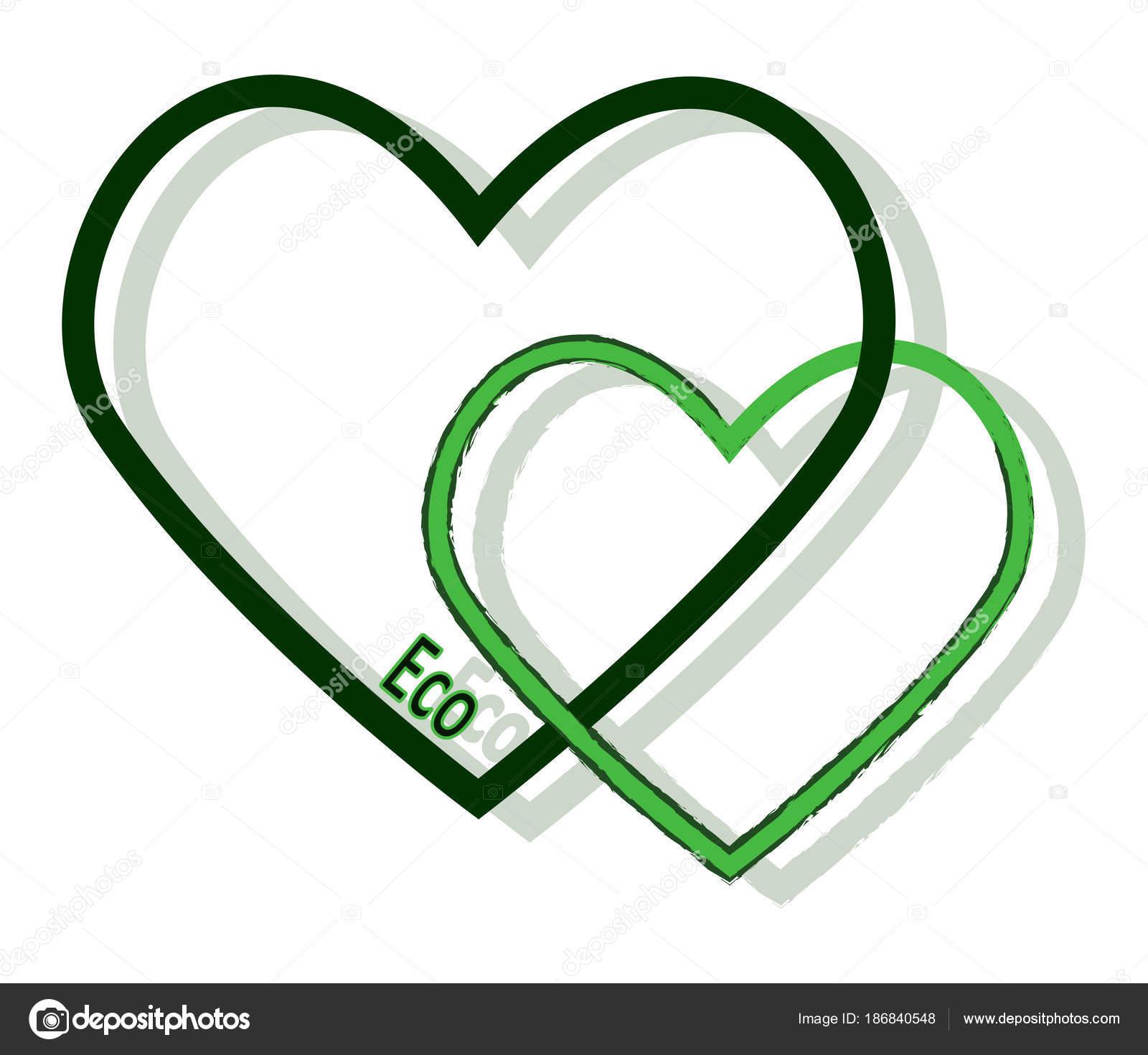 Zwei Grüne Herzen Stockvektor Elfijka 186840548
