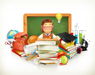 Back to school. Education. 3d vector illustration