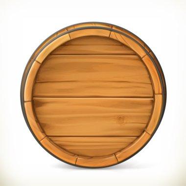 Barrel. Wooden sign. Vector 3d icon