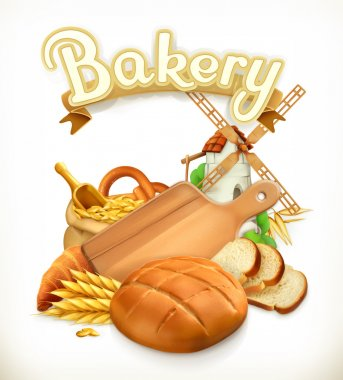 Bakery, Bread. 3d vector logo