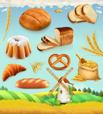 Farm. Wheat and bread. Food 3d vector set