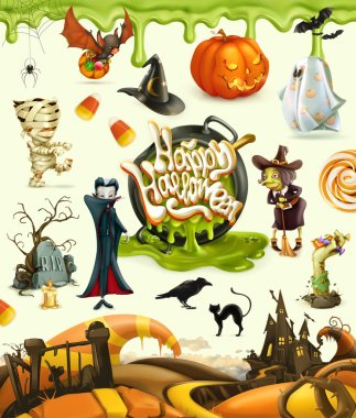 Halloween 3d vector illustrations. Pumpkin, ghost, spider, witch, vampire, zombie, grave, candy corn. Set of cartoon characters and objects, greetings text Happy Halloween for invitation cards and pos