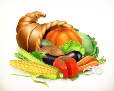 Horn of plenty. Harvest vegetables. Cornucopia. 3d vector icon
