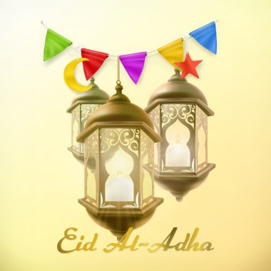 Muslim holiday Eid Al-Adha. Greeting card with lamp. Islamic culture. Vector background