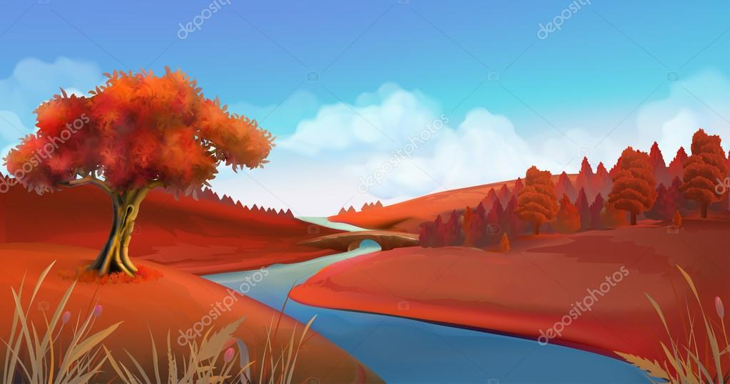 Autumn background. Nature landscape vector graphics