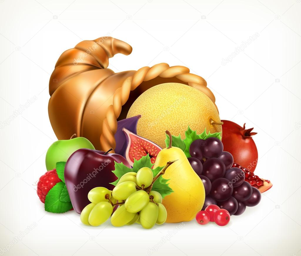 Horn of plenty. Harvest fruits.Cornucopia. 3d vector icon